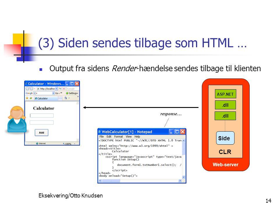 Eksekvering/Otto Knudsen 14 (3) Siden sendes tilbage som HTML … Output fra sidens Render-hændelse sendes tilbage til klienten response… Web-server.dll ASP.NET CLR Side
