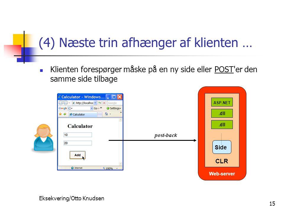 Eksekvering/Otto Knudsen 15 (4) Næste trin afhænger af klienten … Klienten forespørger måske på en ny side eller POST er den samme side tilbage post-back Web-server.dll ASP.NET CLR Side
