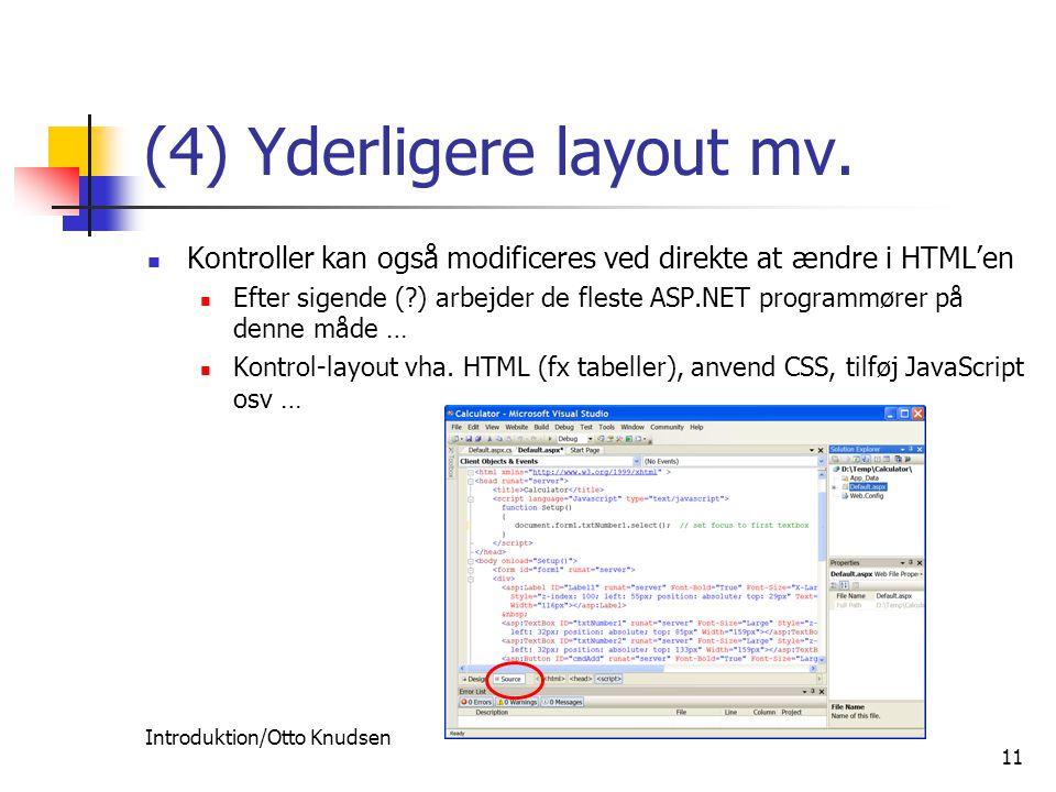 Introduktion/Otto Knudsen 11 (4) Yderligere layout mv.