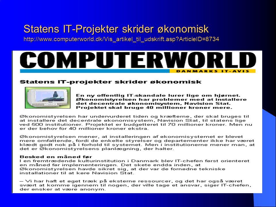 Statens IT-Projekter skrider økonomisk http://www.computerworld.dk/Vis_artikel_til_udskrift.asp ArticleID=8734