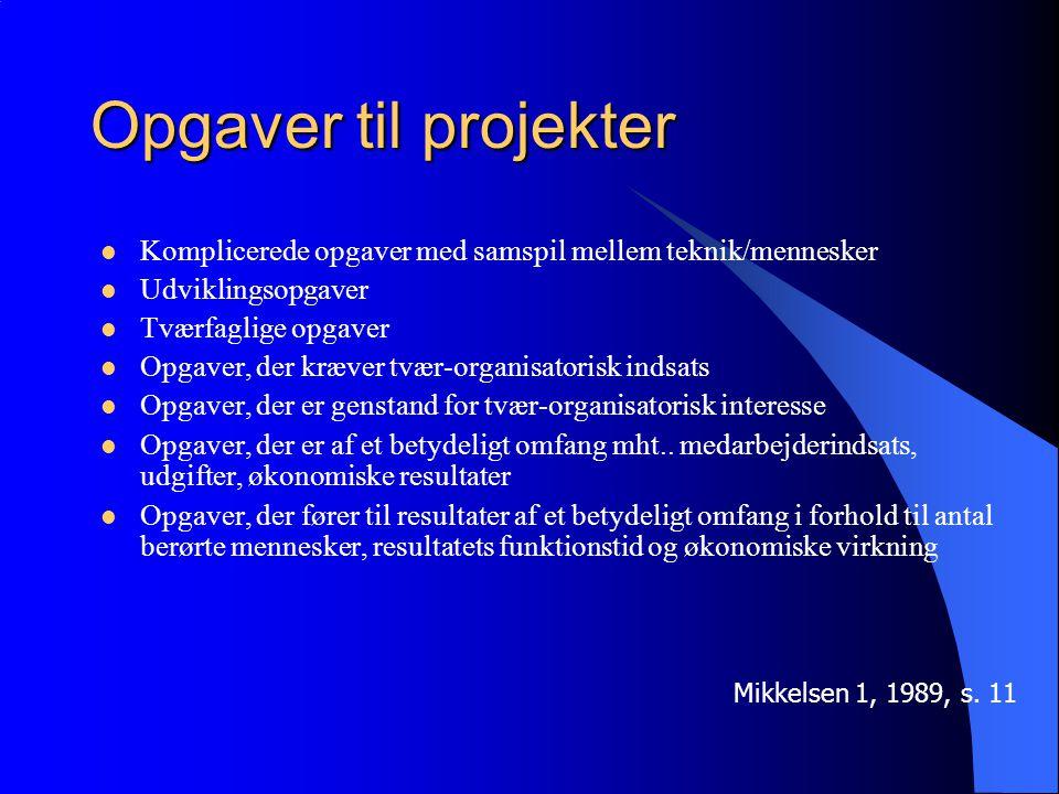Opgaver til projekter Komplicerede opgaver med samspil mellem teknik/mennesker Udviklingsopgaver Tværfaglige opgaver Opgaver, der kræver tvær-organisatorisk indsats Opgaver, der er genstand for tvær-organisatorisk interesse Opgaver, der er af et betydeligt omfang mht..