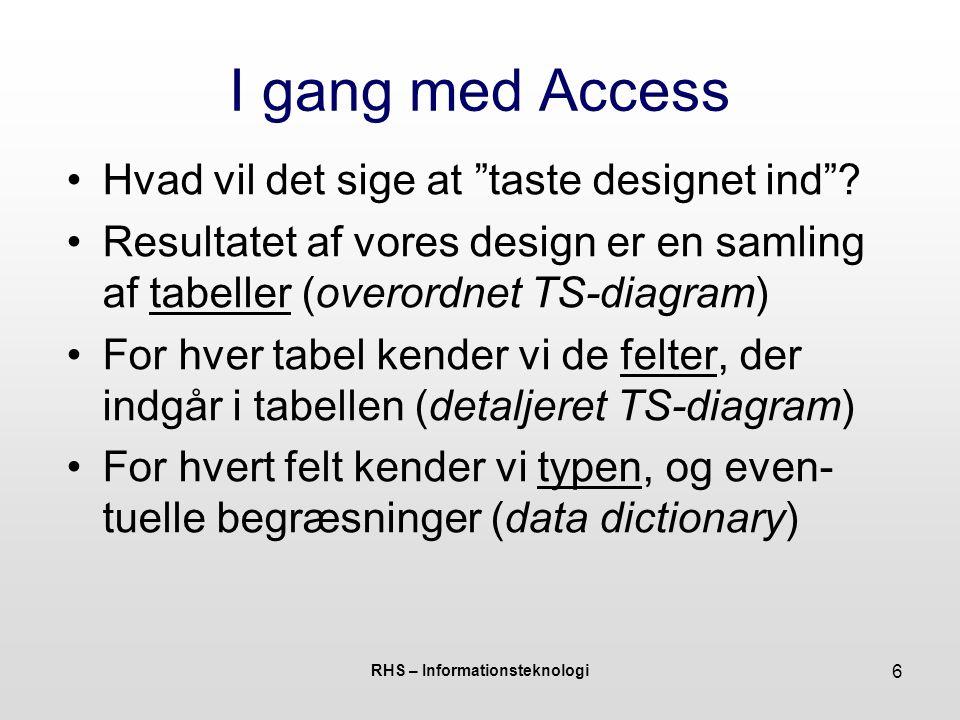 RHS – Informationsteknologi 6 I gang med Access Hvad vil det sige at taste designet ind .