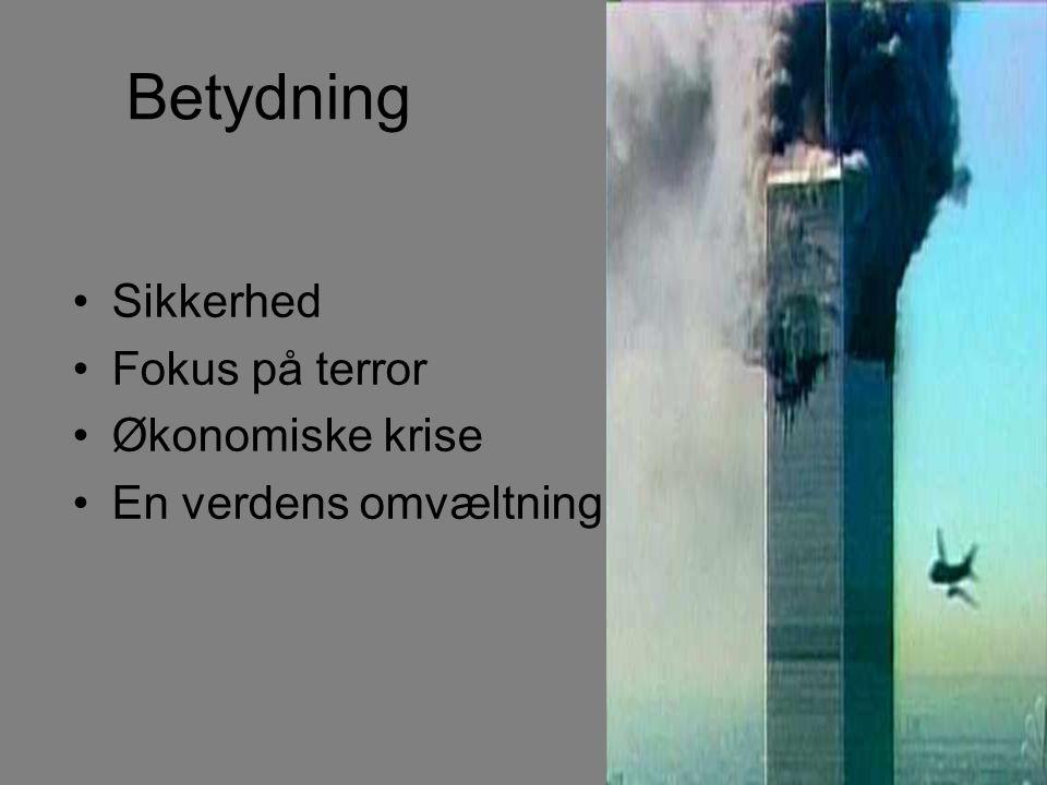 Betydning Sikkerhed Fokus på terror Økonomiske krise En verdens omvæltning
