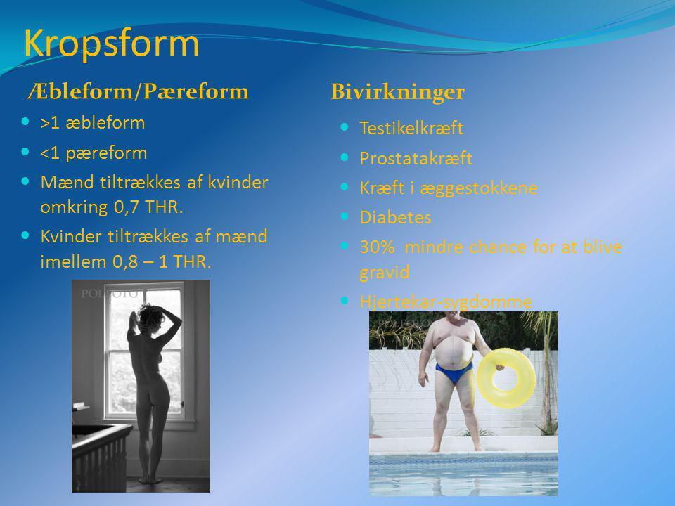 Kropsform Æbleform/Pæreform Bivirkninger >1 æbleform <1 pæreform Mænd tiltrækkes af kvinder omkring 0,7 THR.