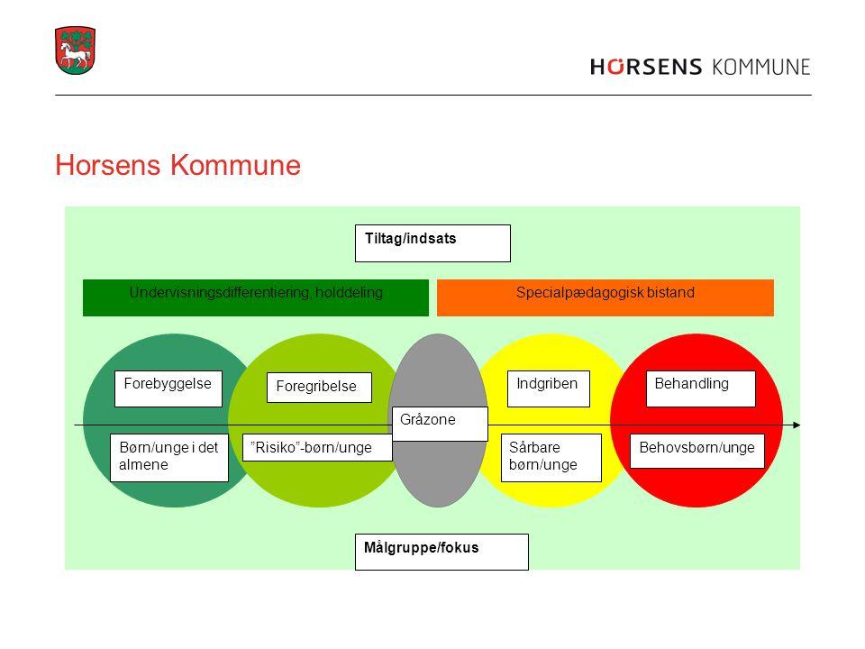 Horsens Kommune Forebyggelse Foregribelse IndgribenBehandling Børn/unge i det almene Risiko -børn/ungeSårbare børn/unge Behovsbørn/unge Tiltag/indsats Gråzone Målgruppe/fokus Specialpædagogisk bistandUndervisningsdifferentiering, holddeling