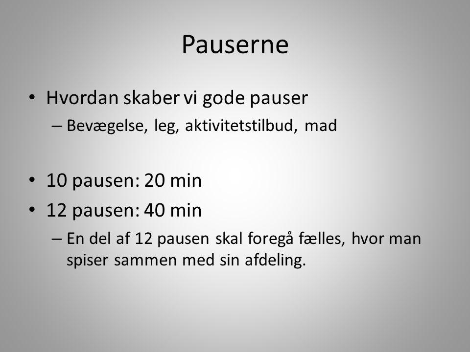 Pauserne Hvordan skaber vi gode pauser – Bevægelse, leg, aktivitetstilbud, mad 10 pausen: 20 min 12 pausen: 40 min – En del af 12 pausen skal foregå fælles, hvor man spiser sammen med sin afdeling.
