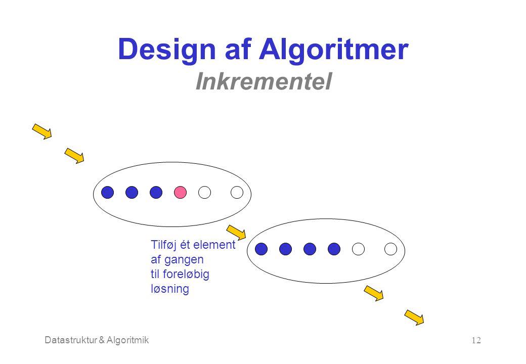 Datastruktur & Algoritmik12 Design af Algoritmer Inkrementel Tilføj ét element af gangen til foreløbig løsning