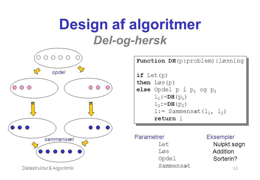 Datastruktur & Algoritmik13 Design af algoritmer Del-og-hersk opdel sammensæt Function DH(p:problem):løsning if Let(p) then Løs(p) else Opdel p i p 1 og p 2 l 1 :=DH(p 1 ) l 2 :=DH(p 2 ) l:= Sammensæt(l 1, l 2 ) return l Function DH(p:problem):løsning if Let(p) then Løs(p) else Opdel p i p 1 og p 2 l 1 :=DH(p 1 ) l 2 :=DH(p 2 ) l:= Sammensæt(l 1, l 2 ) return l Parametrer Let Løs Opdel Sammensæt Eksempler Nulpkt.søgn Addition Sorterin