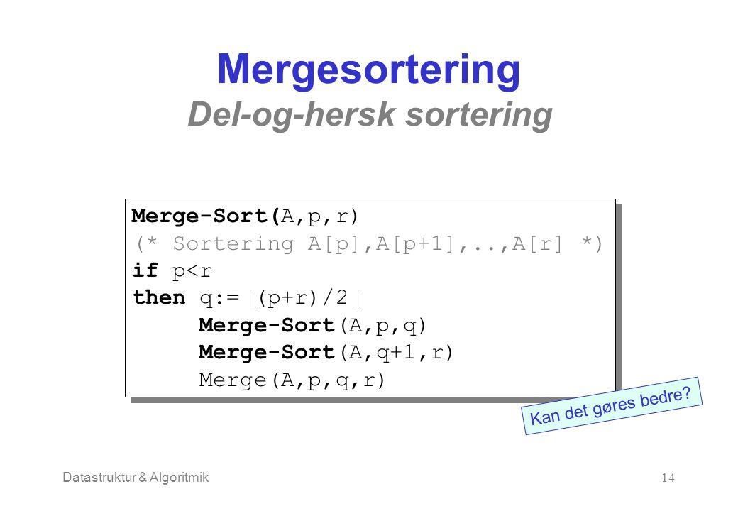 Datastruktur & Algoritmik14 Mergesortering Del-og-hersk sortering Merge-Sort(A,p,r) (* Sortering A[p],A[p+1],..,A[r] *) if p<r then q:= (p+r)/2 Merge-Sort(A,p,q) Merge-Sort(A,q+1,r) Merge(A,p,q,r) Merge-Sort(A,p,r) (* Sortering A[p],A[p+1],..,A[r] *) if p<r then q:= (p+r)/2 Merge-Sort(A,p,q) Merge-Sort(A,q+1,r) Merge(A,p,q,r) Kan det gøres bedre
