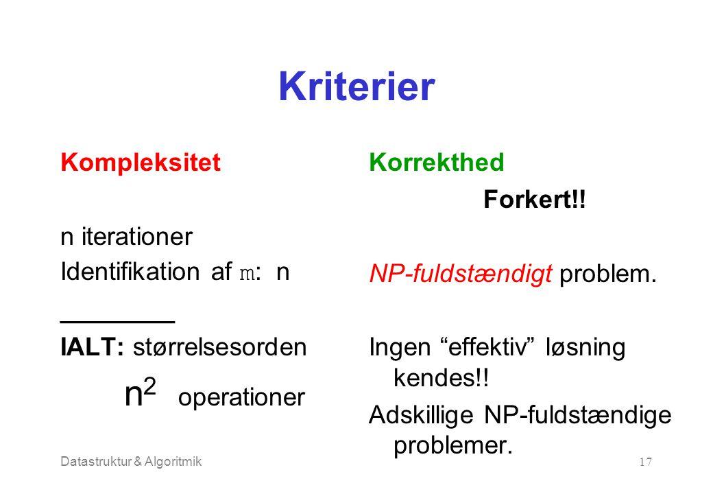 Datastruktur & Algoritmik17 Kriterier Kompleksitet n iterationer Identifikation af m : n ________ IALT: størrelsesorden n 2 operationer Korrekthed Forkert!.