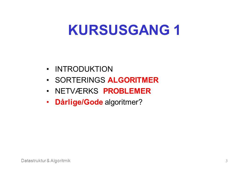 Datastruktur & Algoritmik3 KURSUSGANG 1 INTRODUKTION SORTERINGS ALGORITMER NETVÆRKS PROBLEMER Dårlige/Gode algoritmer