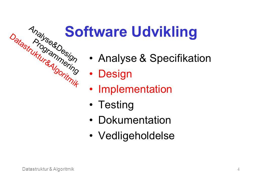 Datastruktur & Algoritmik4 Software Udvikling Analyse & Specifikation Design Implementation Testing Dokumentation Vedligeholdelse Analyse&Design Programmering Datastruktur&Algoritmik