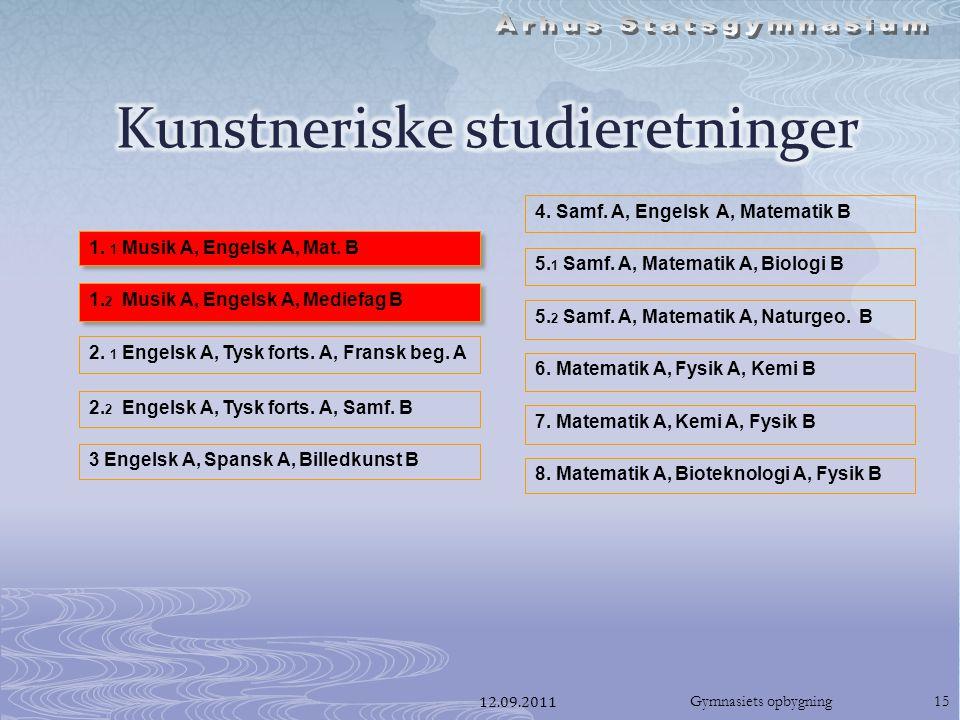 12.09.2011Gymnasiets opbygning15 1. 1 Musik A, Engelsk A, Mat.