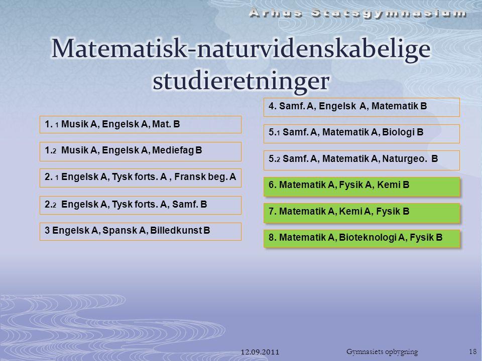 12.09.2011Gymnasiets opbygning18 1. 1 Musik A, Engelsk A, Mat.