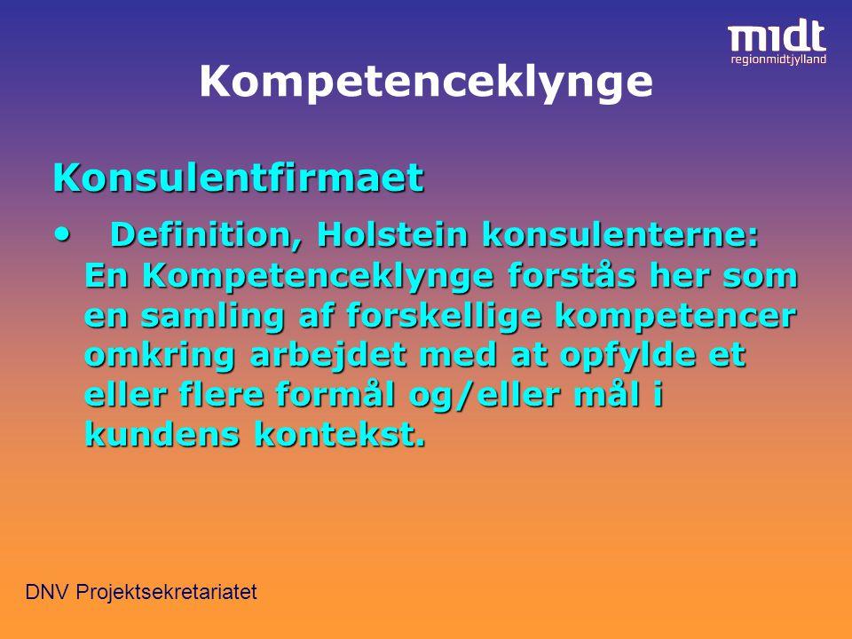 DNV Projektsekretariatet Kompetenceklynge Konsulentfirmaet Definition, Holstein konsulenterne: En Kompetenceklynge forstås her som en samling af forskellige kompetencer omkring arbejdet med at opfylde et eller flere formål og/eller mål i kundens kontekst.
