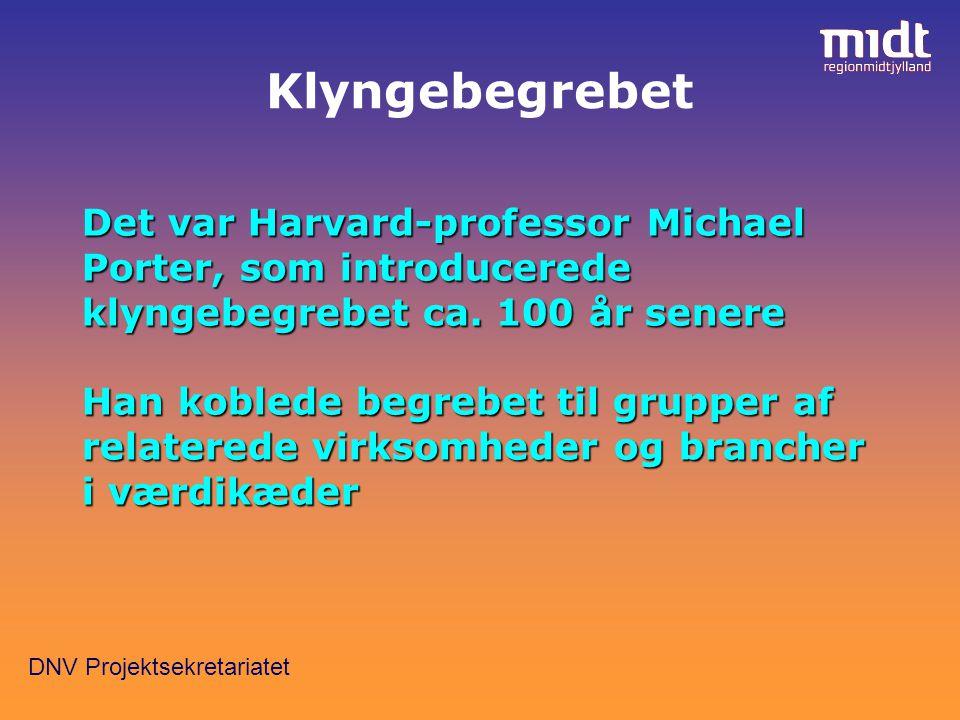 DNV Projektsekretariatet Det var Harvard-professor Michael Porter, som introducerede klyngebegrebet ca.