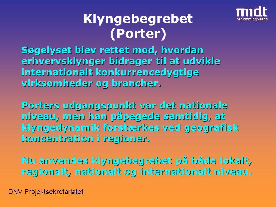 DNV Projektsekretariatet Klyngebegrebet (Porter) Søgelyset blev rettet mod, hvordan erhvervsklynger bidrager til at udvikle internationalt konkurrencedygtige virksomheder og brancher.
