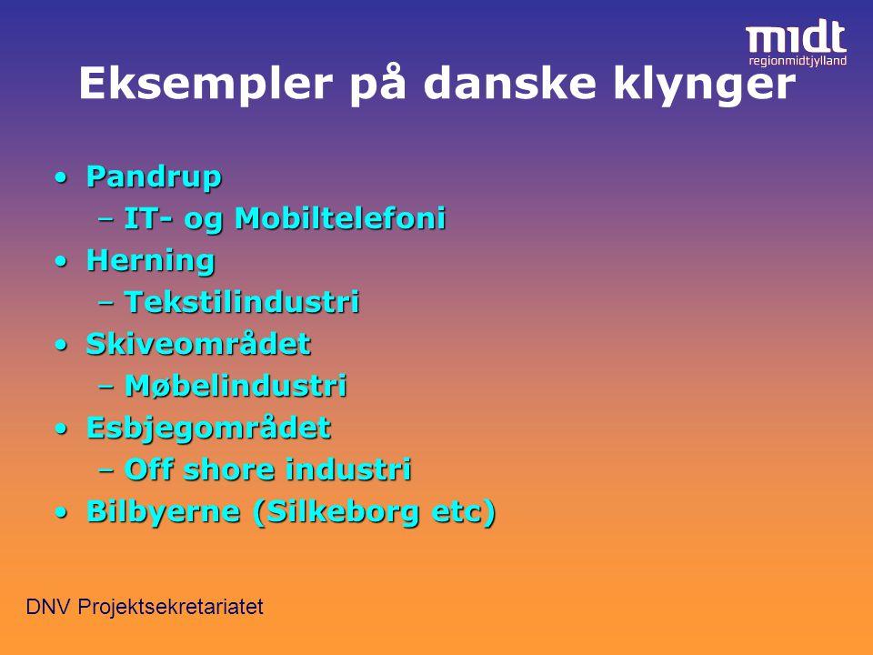 DNV Projektsekretariatet Eksempler på danske klynger PandrupPandrup –IT- og Mobiltelefoni HerningHerning –Tekstilindustri SkiveområdetSkiveområdet –Møbelindustri EsbjegområdetEsbjegområdet –Off shore industri Bilbyerne (Silkeborg etc)Bilbyerne (Silkeborg etc)