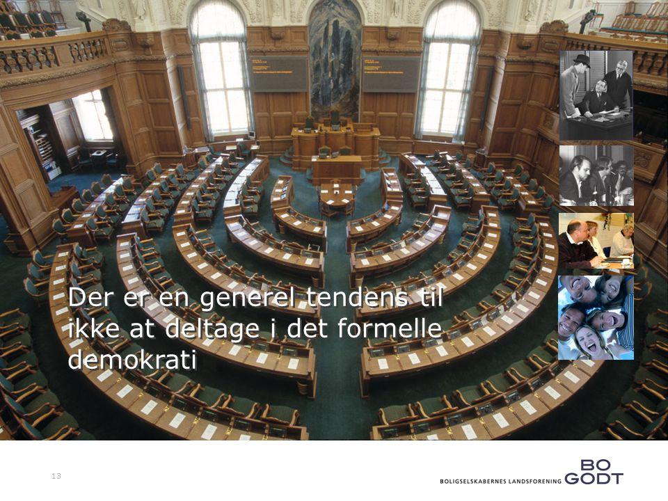 13 Der er en generel tendens til ikke at deltage i det formelle demokrati Der er en generel tendens til ikke at deltage i det formelle demokrati