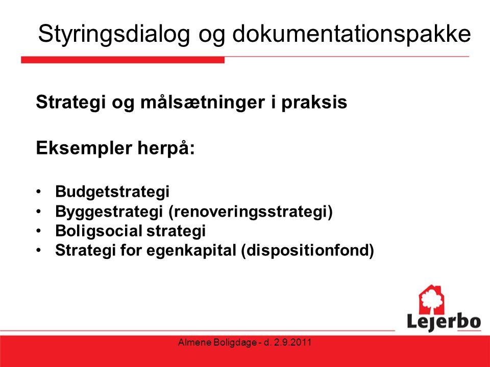 Styringsdialog og dokumentationspakke Strategi og målsætninger i praksis Eksempler herpå: Budgetstrategi Byggestrategi (renoveringsstrategi) Boligsocial strategi Strategi for egenkapital (dispositionfond) Almene Boligdage - d.