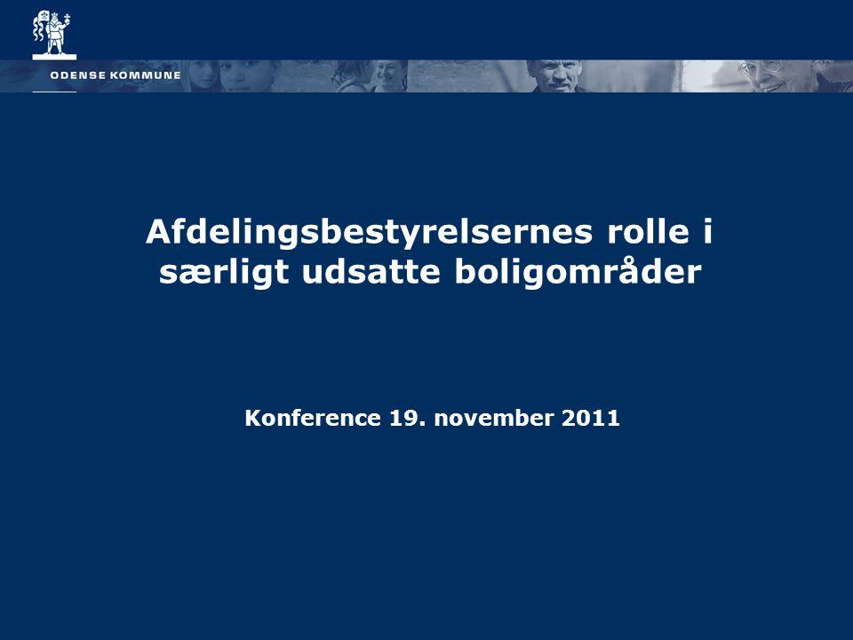 Afdelingsbestyrelsernes rolle i særligt udsatte boligområder Konference 19. november 2011