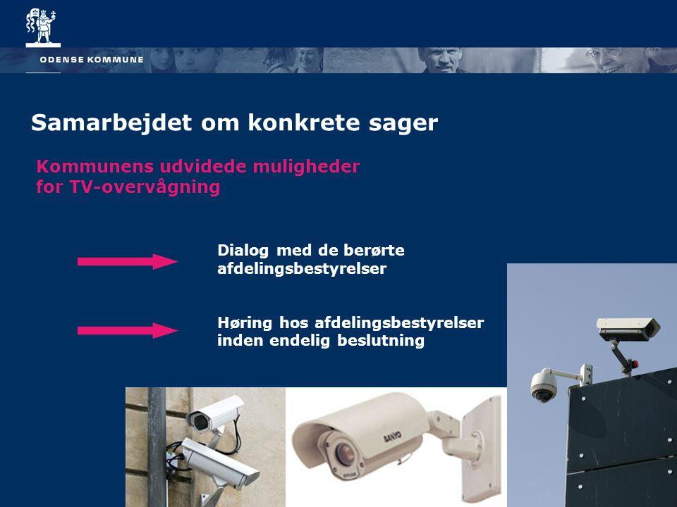 Samarbejdet om konkrete sager Kommunens udvidede muligheder for TV-overvågning Dialog med de berørte afdelingsbestyrelser Høring hos afdelingsbestyrelser inden endelig beslutning