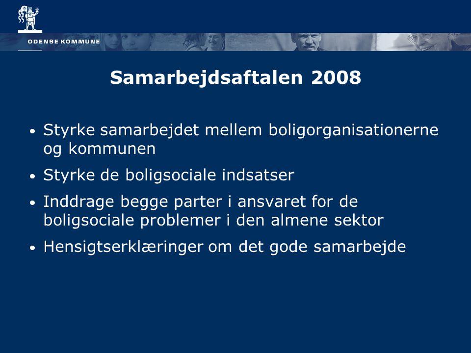 Samarbejdsaftalen 2008 Styrke samarbejdet mellem boligorganisationerne og kommunen Styrke de boligsociale indsatser Inddrage begge parter i ansvaret for de boligsociale problemer i den almene sektor Hensigtserklæringer om det gode samarbejde