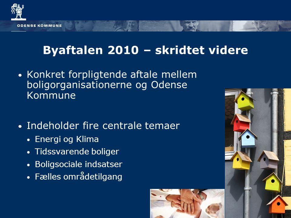 Byaftalen 2010 – skridtet videre Konkret forpligtende aftale mellem boligorganisationerne og Odense Kommune Indeholder fire centrale temaer Energi og Klima Tidssvarende boliger Boligsociale indsatser Fælles områdetilgang