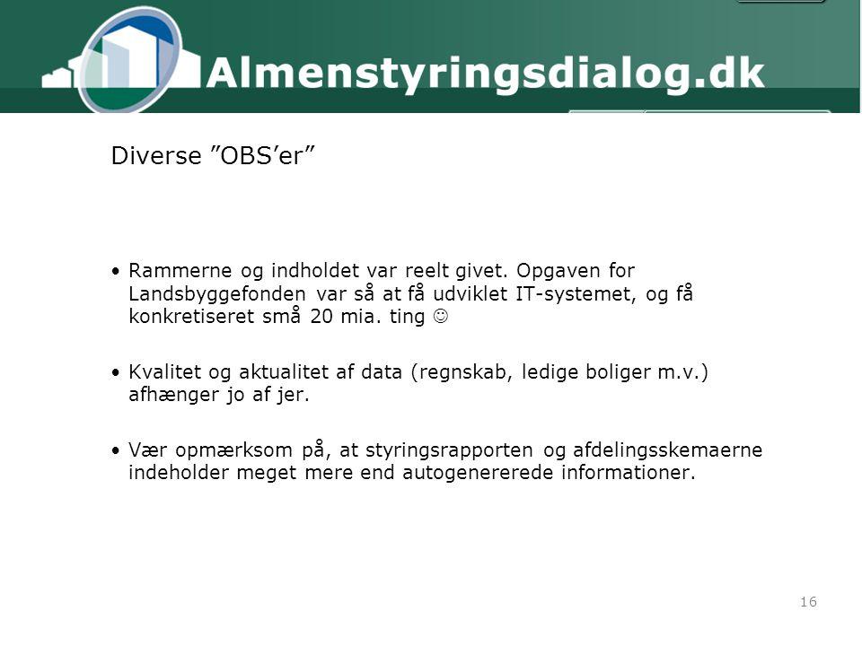 16 Diverse OBS'er Rammerne og indholdet var reelt givet.