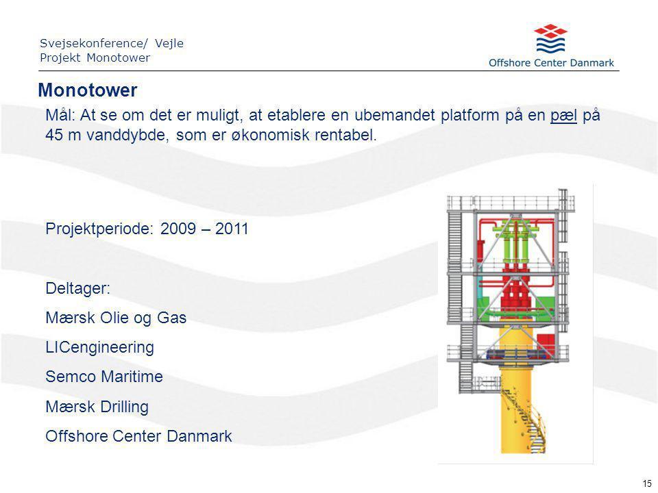 15 Projektperiode: 2009 – 2011 Deltager: Mærsk Olie og Gas LICengineering Semco Maritime Mærsk Drilling Offshore Center Danmark Mål: At se om det er muligt, at etablere en ubemandet platform på en pæl på 45 m vanddybde, som er økonomisk rentabel.