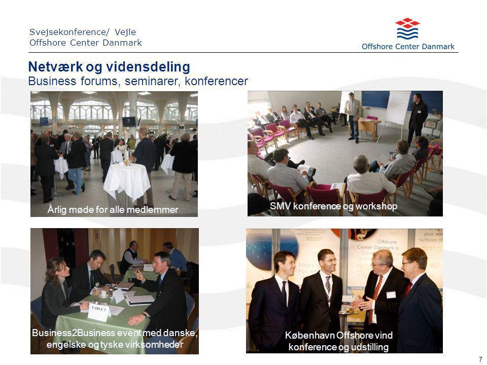 Business forums, seminarer, konferencer 7 Business2Business event med danske, engelske og tyske virksomheder SMV konference og workshop København Offshore vind konference og udstilling Årlig møde for alle medlemmer Netværk og vidensdeling Svejsekonference/ Vejle Offshore Center Danmark