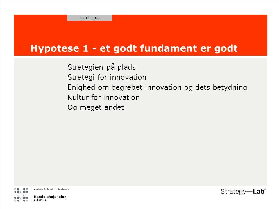 28.11.2007 Hypotese 1 - et godt fundament er godt Strategien på plads Strategi for innovation Enighed om begrebet innovation og dets betydning Kultur for innovation Og meget andet