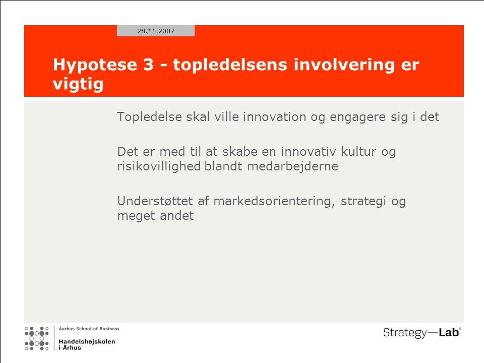 28.11.2007 Hypotese 3 - topledelsens involvering er vigtig Topledelse skal ville innovation og engagere sig i det Det er med til at skabe en innovativ kultur og risikovillighed blandt medarbejderne Understøttet af markedsorientering, strategi og meget andet