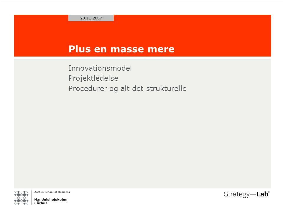 28.11.2007 Plus en masse mere Innovationsmodel Projektledelse Procedurer og alt det strukturelle