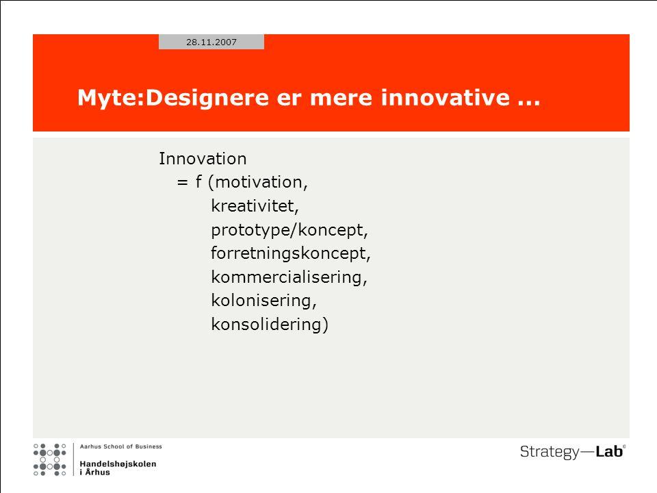 28.11.2007 Myte:Designere er mere innovative...