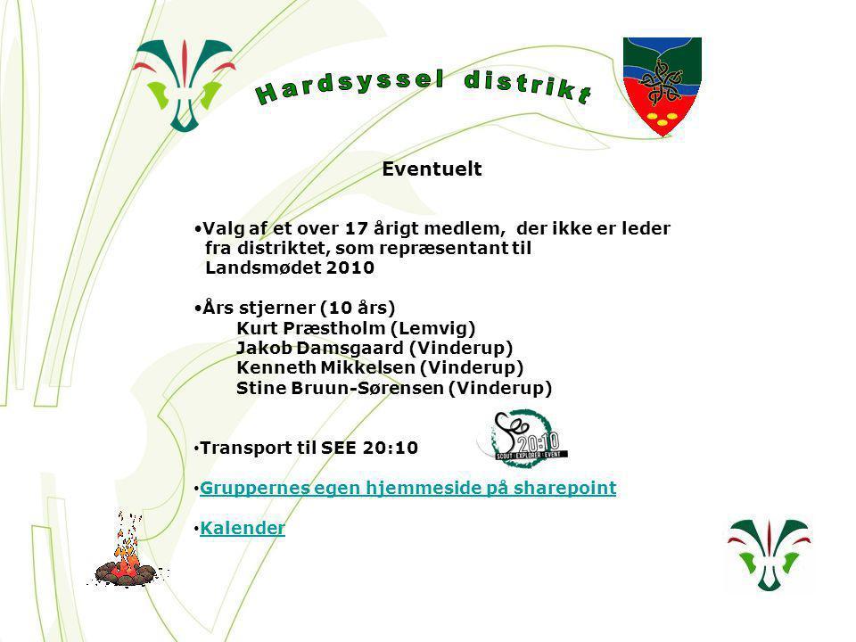 Eventuelt Valg af et over 17 årigt medlem, der ikke er leder fra distriktet, som repræsentant til Landsmødet 2010 Års stjerner (10 års) Kurt Præstholm (Lemvig) Jakob Damsgaard (Vinderup) Kenneth Mikkelsen (Vinderup) Stine Bruun-Sørensen (Vinderup) Transport til SEE 20:10 Gruppernes egen hjemmeside på sharepoint Kalender