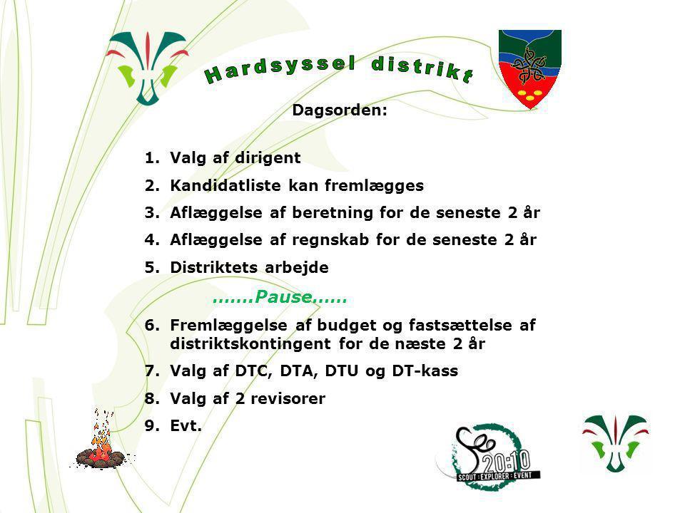 Dagsorden: 1.Valg af dirigent 2.Kandidatliste kan fremlægges 3.Aflæggelse af beretning for de seneste 2 år 4.Aflæggelse af regnskab for de seneste 2 år 5.Distriktets arbejde …….Pause…… 6.Fremlæggelse af budget og fastsættelse af distriktskontingent for de næste 2 år 7.Valg af DTC, DTA, DTU og DT-kass 8.Valg af 2 revisorer 9.Evt.