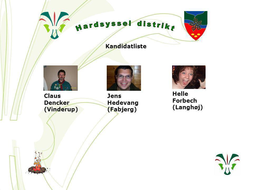Kandidatliste Claus Dencker (Vinderup) Jens Hedevang (Fabjerg) Helle Forbech (Langhøj)