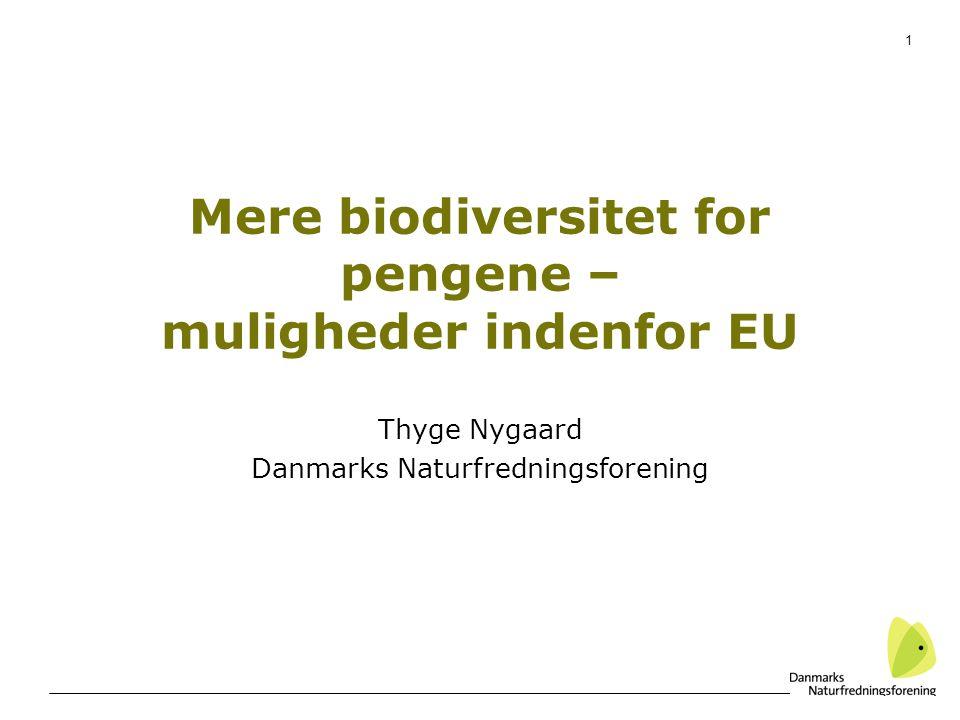 1 Mere biodiversitet for pengene – muligheder indenfor EU Thyge Nygaard Danmarks Naturfredningsforening