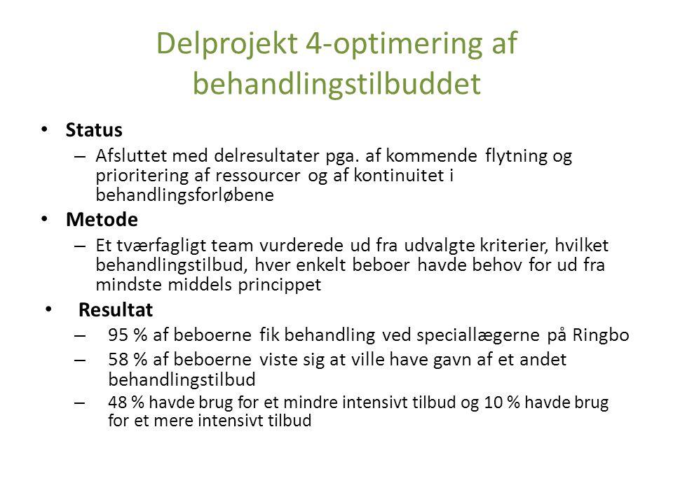 Delprojekt 4-optimering af behandlingstilbuddet Status – Afsluttet med delresultater pga.