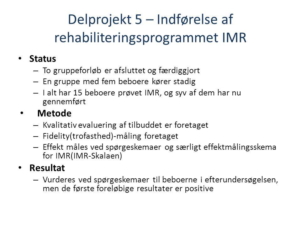 Delprojekt 5 – Indførelse af rehabiliteringsprogrammet IMR Status – To gruppeforløb er afsluttet og færdiggjort – En gruppe med fem beboere kører stadig – I alt har 15 beboere prøvet IMR, og syv af dem har nu gennemført Metode – Kvalitativ evaluering af tilbuddet er foretaget – Fidelity(trofasthed)-måling foretaget – Effekt måles ved spørgeskemaer og særligt effektmålingsskema for IMR(IMR-Skalaen) Resultat – Vurderes ved spørgeskemaer til beboerne i efterundersøgelsen, men de første foreløbige resultater er positive