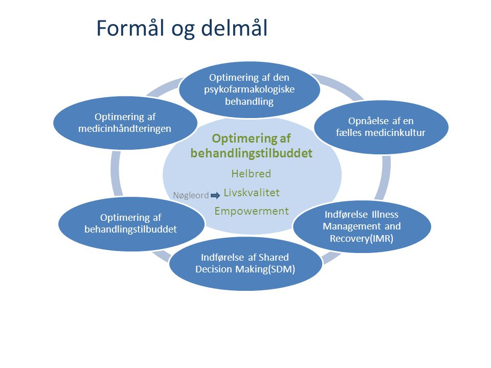 Optimering af behandlingstilbuddet Helbred Livskvalitet Empowerment Optimering af den psykofarmakologiske behandling Opnåelse af en fælles medicinkultur Indførelse Illness Management and Recovery(IMR) Indførelse af Shared Decision Making(SDM) Optimering af behandlingstilbuddet Optimering af medicinhåndteringen Formål og delmål Nøgleord