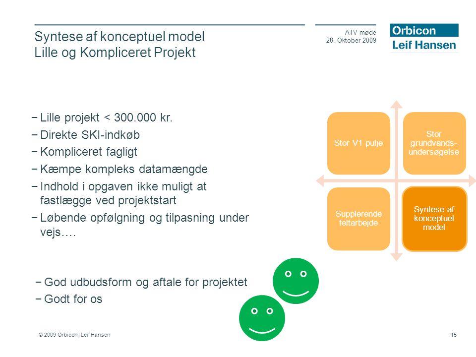 © 2009 Orbicon | Leif Hansen 15 Syntese af konceptuel model Lille og Kompliceret Projekt ATV møde 28.