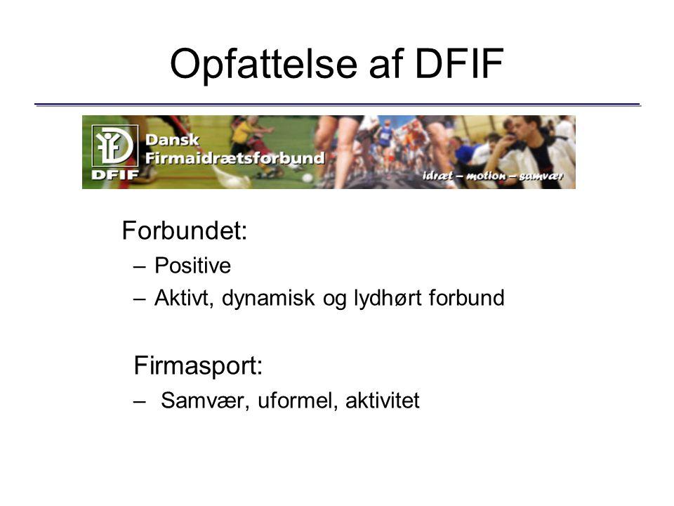 Opfattelse af DFIF Forbundet: –Positive –Aktivt, dynamisk og lydhørt forbund Firmasport: – Samvær, uformel, aktivitet