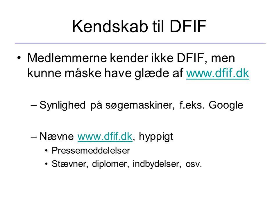 Kendskab til DFIF Medlemmerne kender ikke DFIF, men kunne måske have glæde af www.dfif.dkwww.dfif.dk –Synlighed på søgemaskiner, f.eks.