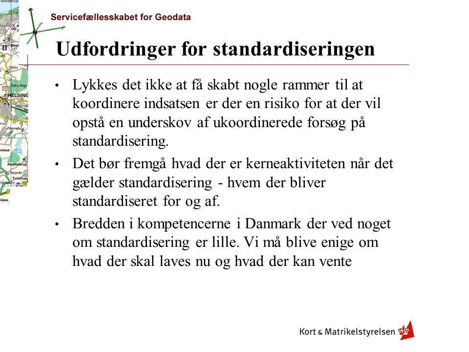 Udfordringer for standardiseringen Lykkes det ikke at få skabt nogle rammer til at koordinere indsatsen er der en risiko for at der vil opstå en underskov af ukoordinerede forsøg på standardisering.