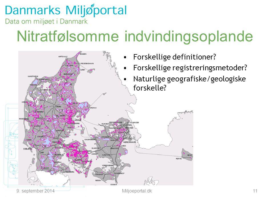 9. september 2014Miljoeportal.dk11 Nitratfølsomme indvindingsoplande Forskellige definitioner.