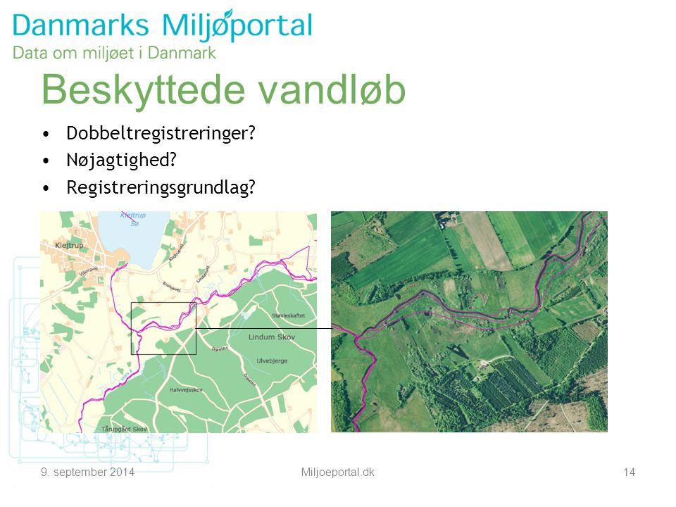 9. september 2014Miljoeportal.dk14 Beskyttede vandløb Dobbeltregistreringer.