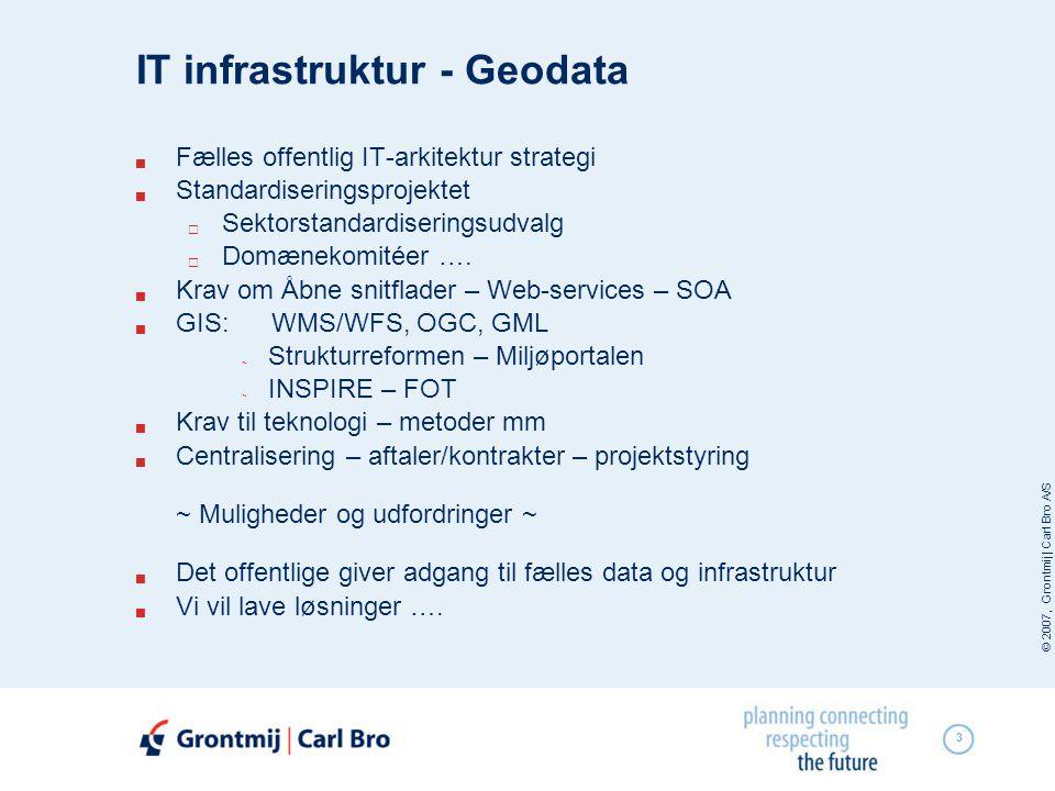 © 2007, Grontmij | Carl Bro A/S 3 IT infrastruktur - Geodata  Fælles offentlig IT-arkitektur strategi  Standardiseringsprojektet  Sektorstandardiseringsudvalg  Domænekomitéer ….