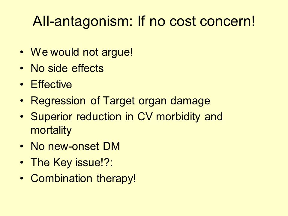 AII-antagonism: If no cost concern. We would not argue.